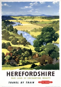 Herefordshire. British Railways Vintage Travel poster by AJ Wils